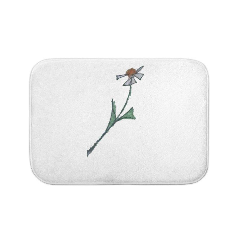 White flower Home Bath Mat by Artdrips's Artist Shop