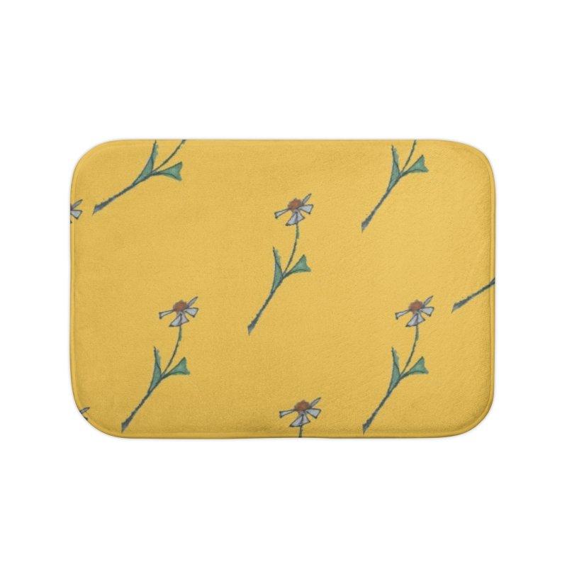 Daisy pattern on bright yellow Home Bath Mat by Artdrips's Artist Shop