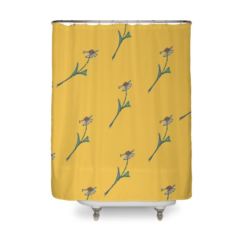 Daisy pattern on bright yellow Home Shower Curtain by Artdrips's Artist Shop