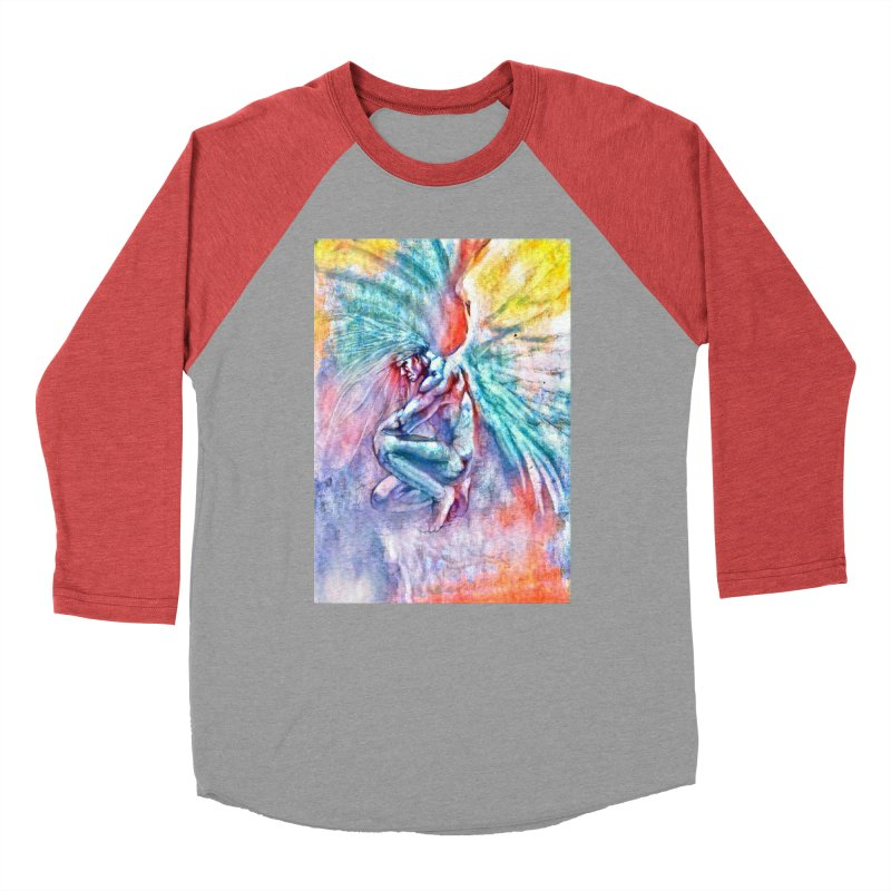Angel in Colour in Men's Baseball Triblend Longsleeve T-Shirt Chili Red Sleeves by Artdrips's Artist Shop