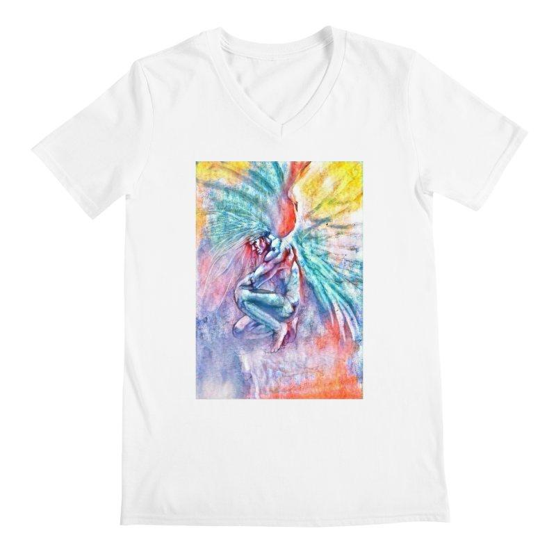 Angel in Colour in Men's Regular V-Neck White by Artdrips's Artist Shop