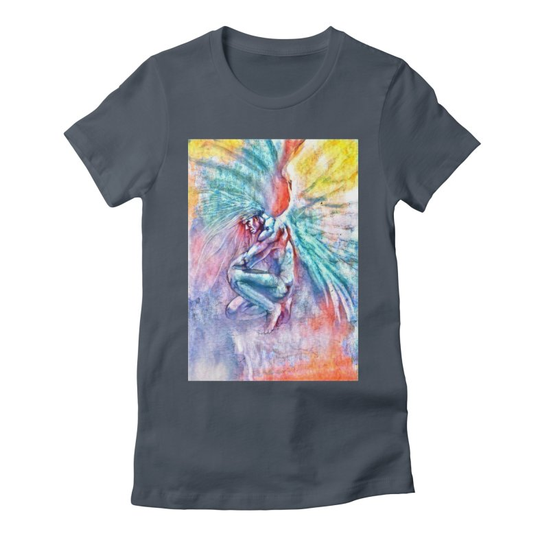 Angel in Colour in Women's Fitted T-Shirt Denim by Artdrips's Artist Shop