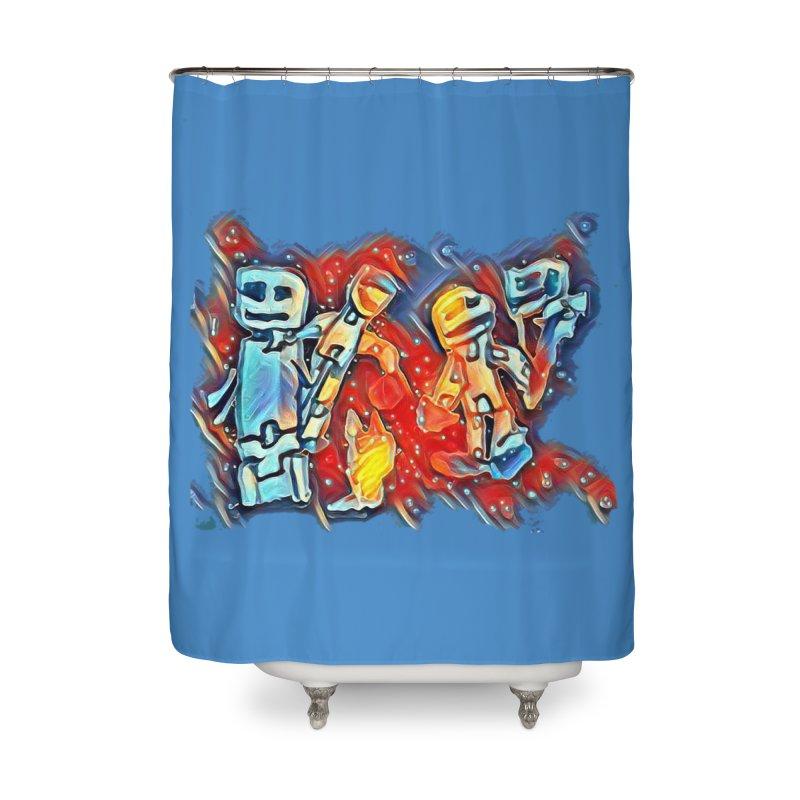 Robot Crew Home Shower Curtain by Artdrips's Artist Shop
