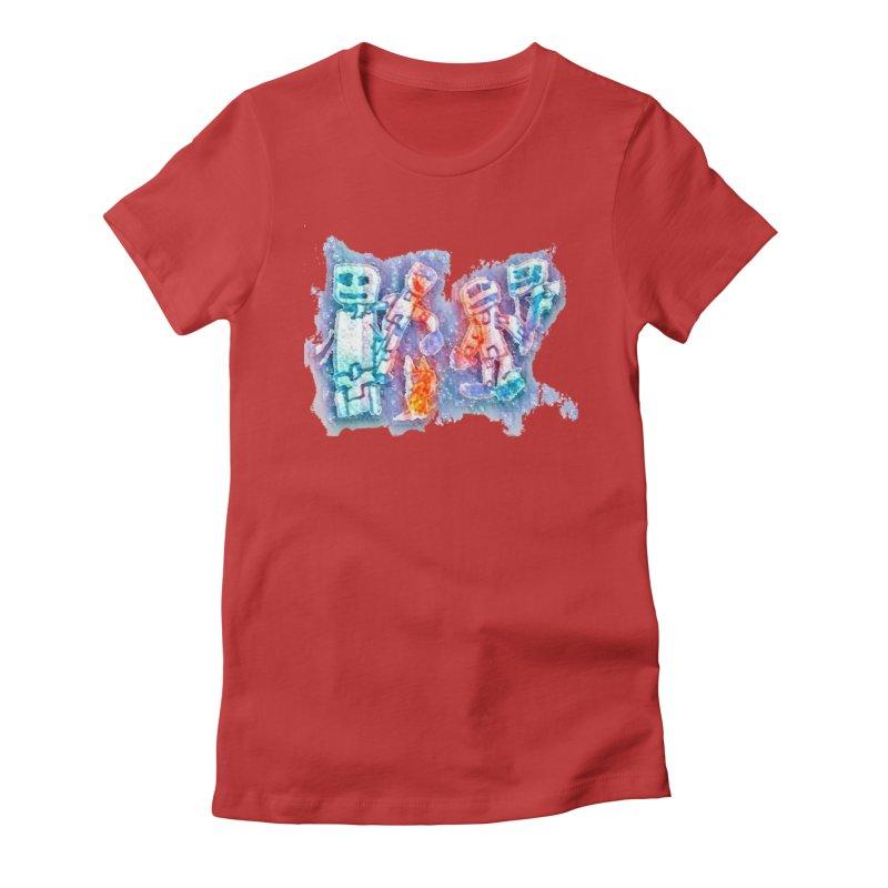 Robot Friends Women's Fitted T-Shirt by Artdrips's Artist Shop