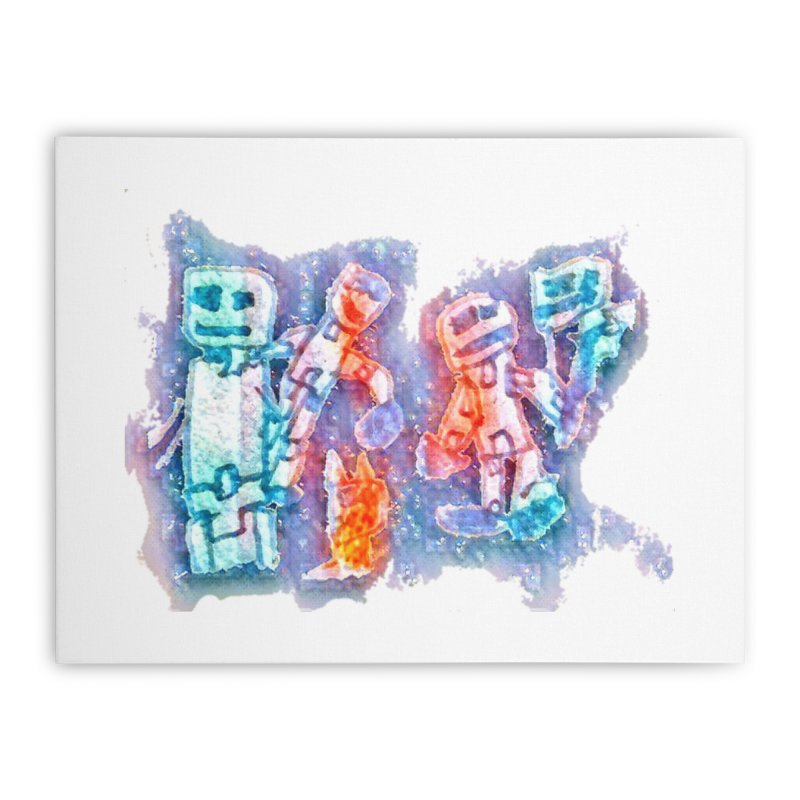 Robot Friends Home Stretched Canvas by Artdrips's Artist Shop