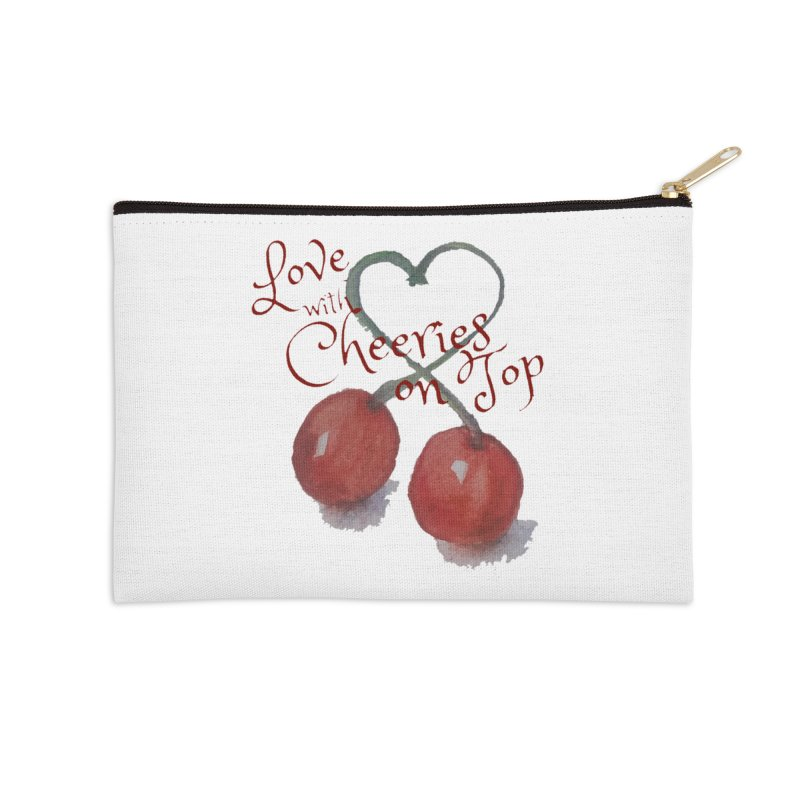 Love with Cherries on Top Accessories Zip Pouch by Artdrips's Artist Shop