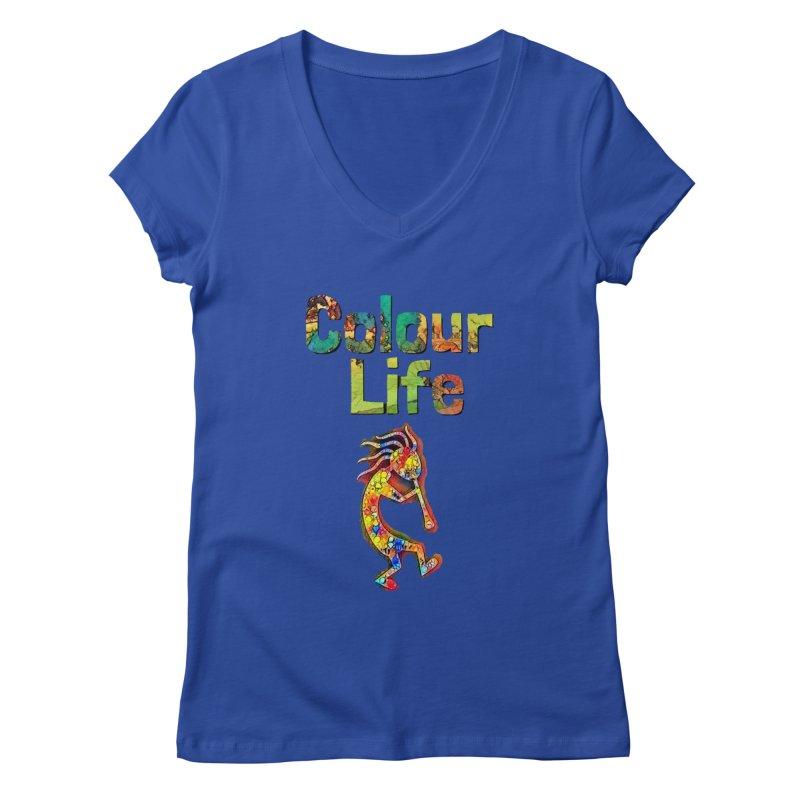 Colour Life with Music Women's Regular V-Neck by Artdrips's Artist Shop