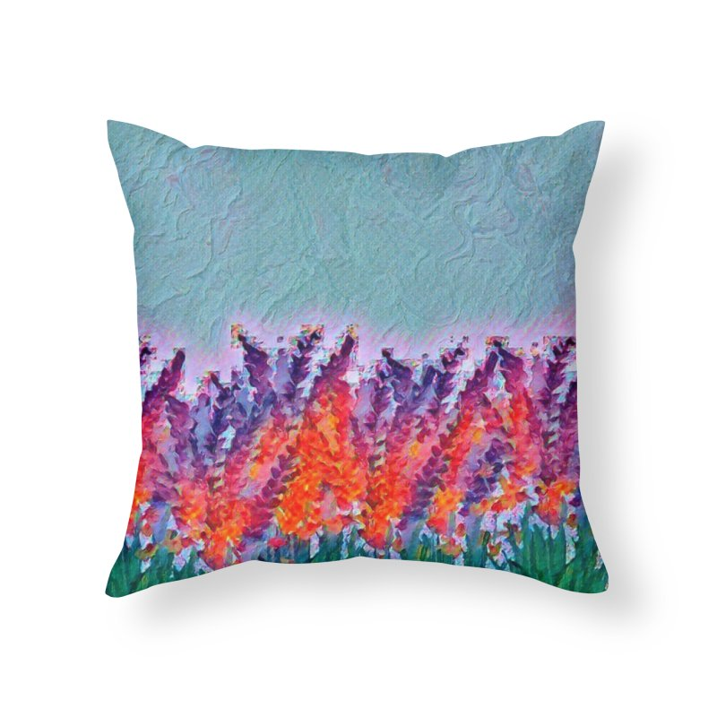 Bold purple and Orange wild flowers Home Throw Pillow by Artdrips's Artist Shop