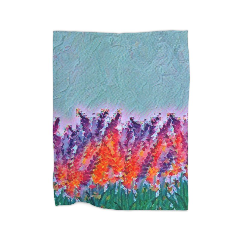 Bold purple and Orange wild flowers Home Blanket by Artdrips's Artist Shop