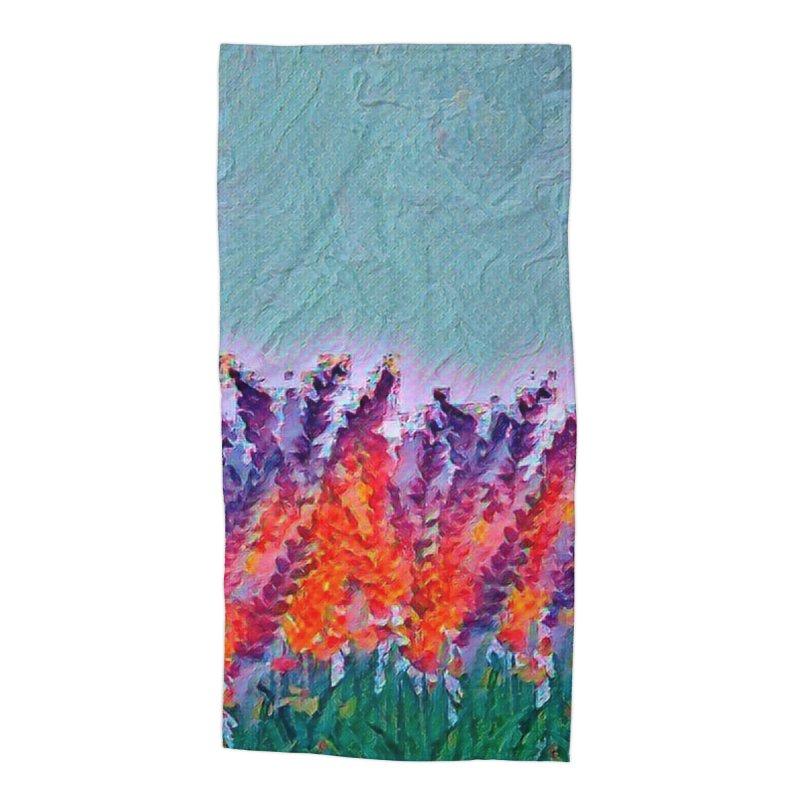 Bold purple and Orange wild flowers Accessories Beach Towel by Artdrips's Artist Shop