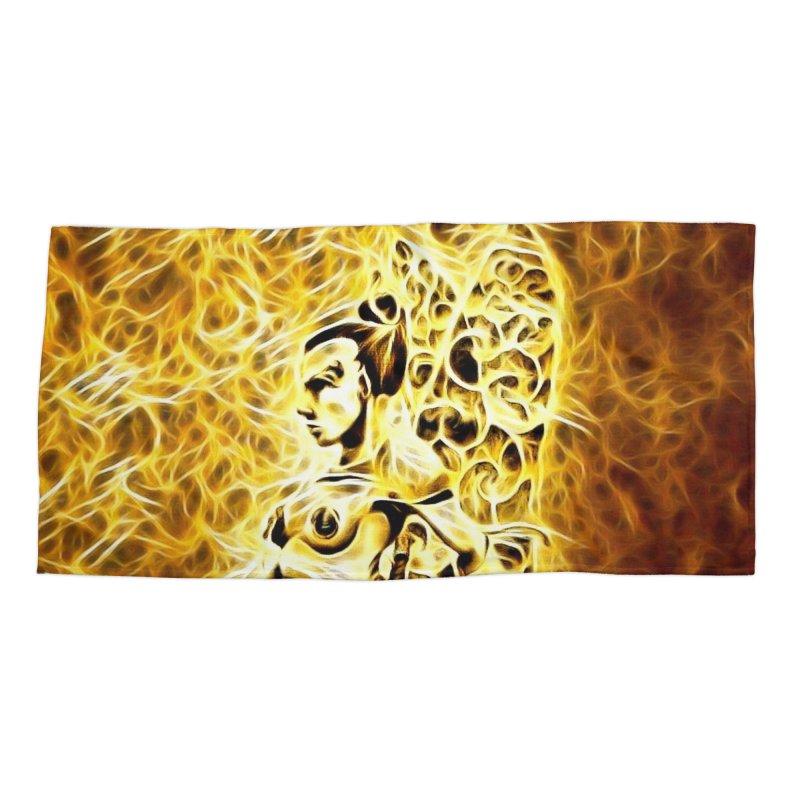 Golden Warrior Fairy Accessories Beach Towel by Artdrips's Artist Shop