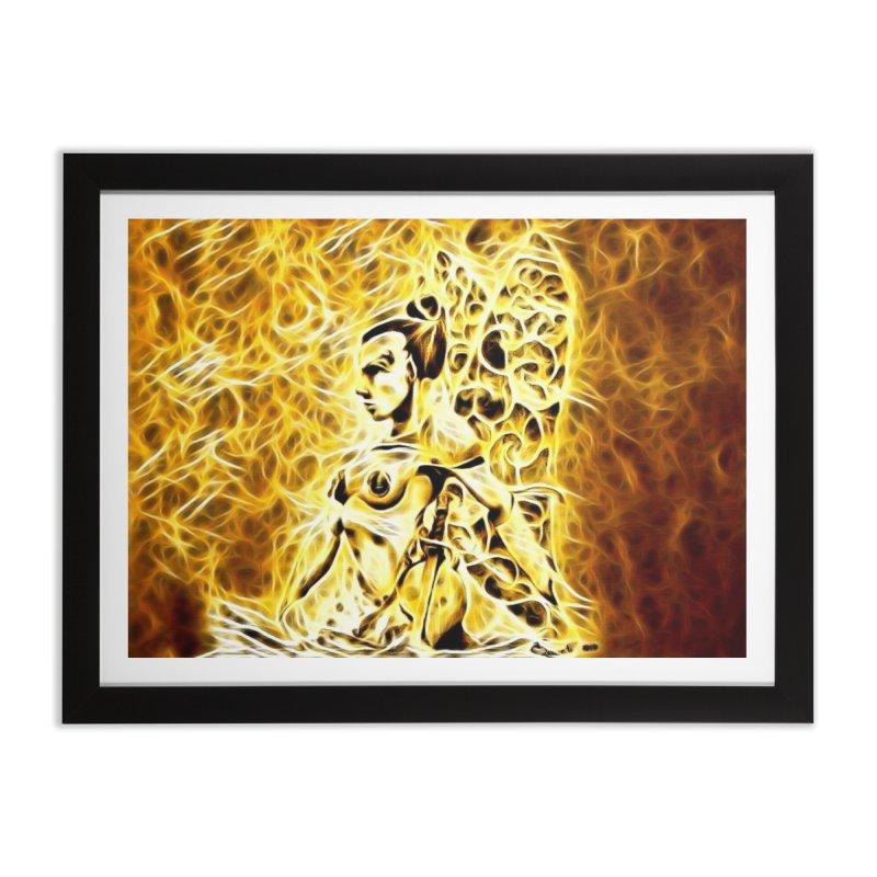 Golden Warrior Fairy Home Framed Fine Art Print by Artdrips's Artist Shop