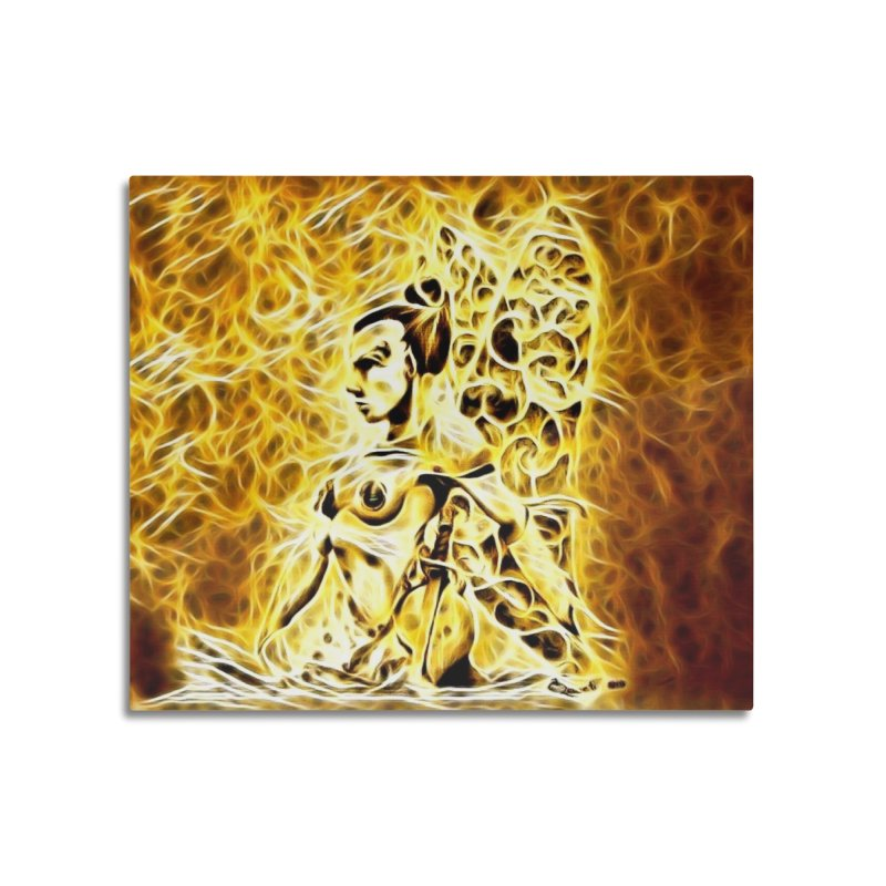 Golden Warrior Fairy Home Mounted Aluminum Print by Artdrips's Artist Shop