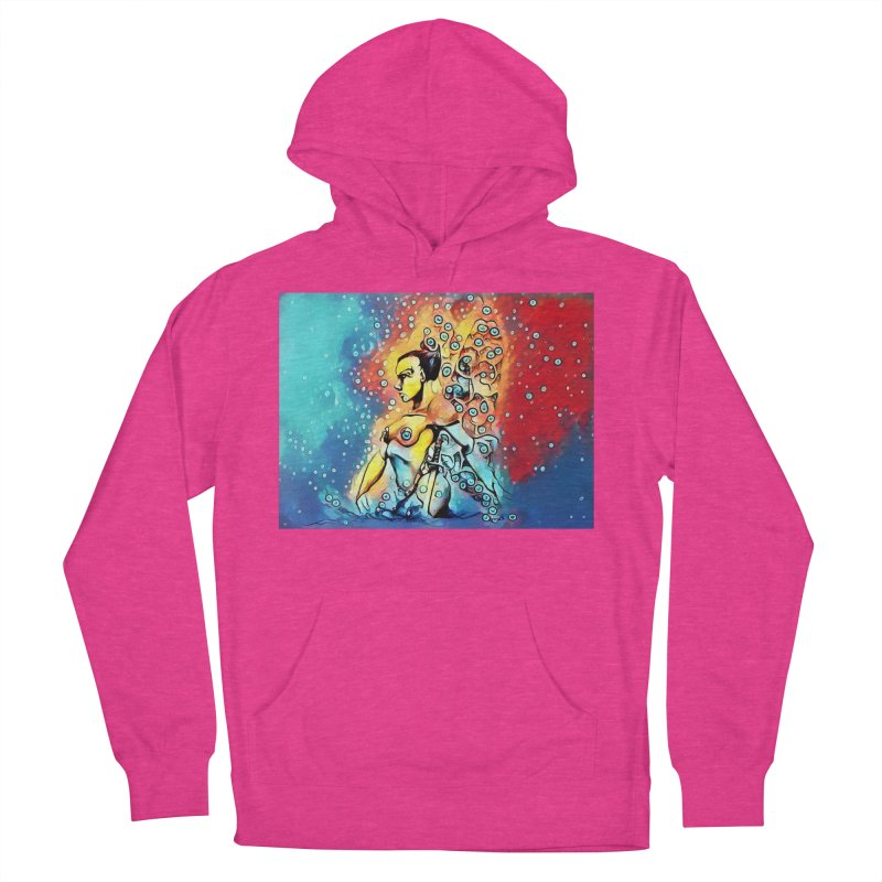 Fairy Warrior in Blue and Red Women's French Terry Pullover Hoody by Artdrips's Artist Shop