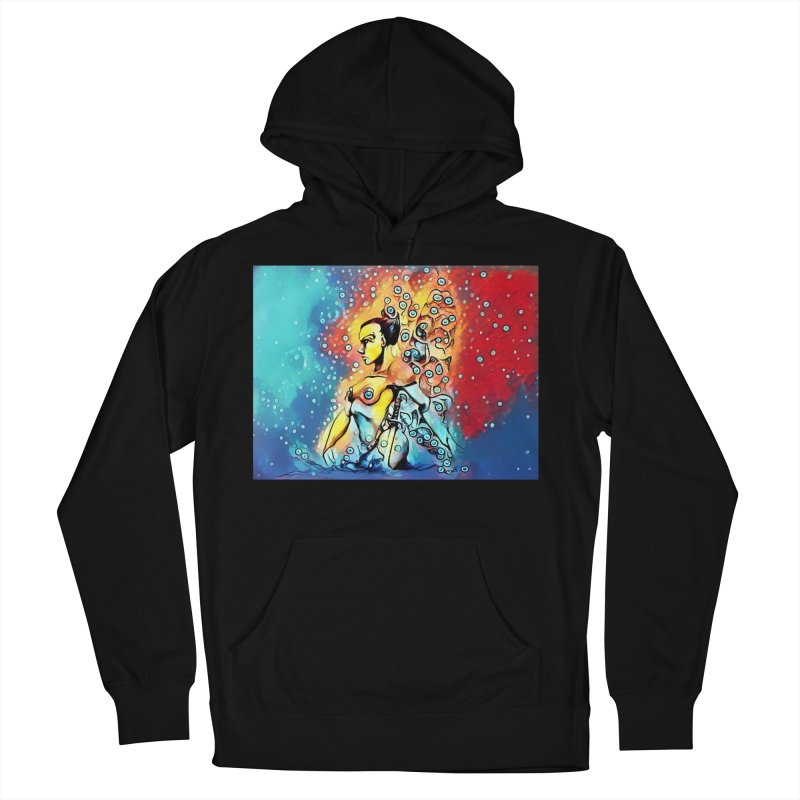 Fairy Warrior in Blue and Red Men's French Terry Pullover Hoody by Artdrips's Artist Shop