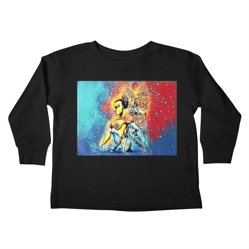 Fairy Warrior in Blue and Red Kids Toddler Longsleeve T-Shirt by Artdrips's Artist Shop