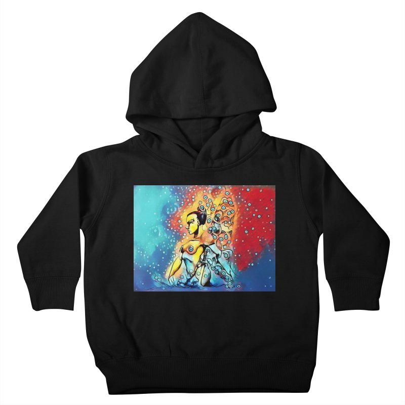 Fairy Warrior in Blue and Red Kids Toddler Pullover Hoody by Artdrips's Artist Shop