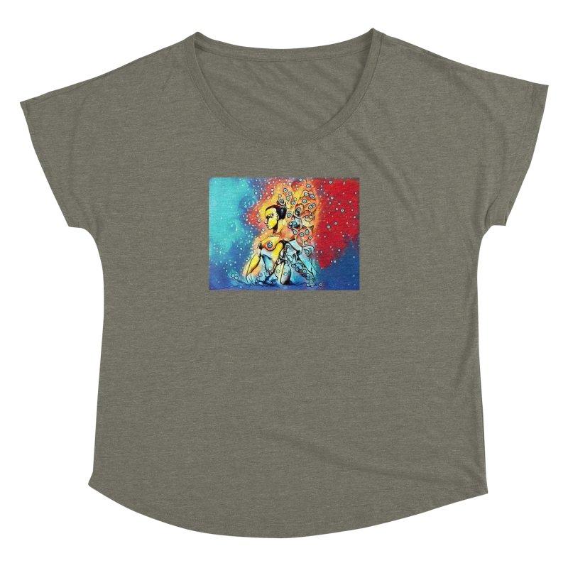 Fairy Warrior in Blue and Red Women's Dolman Scoop Neck by Artdrips's Artist Shop