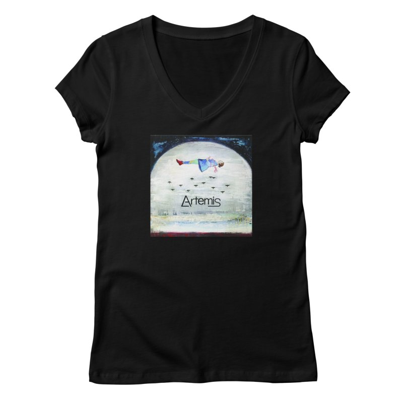 To The Realm Of The Stars by Tricia Scott [with ARTEMIS LOGO] Women's V-Neck by Artemis Journal's Artist Shop