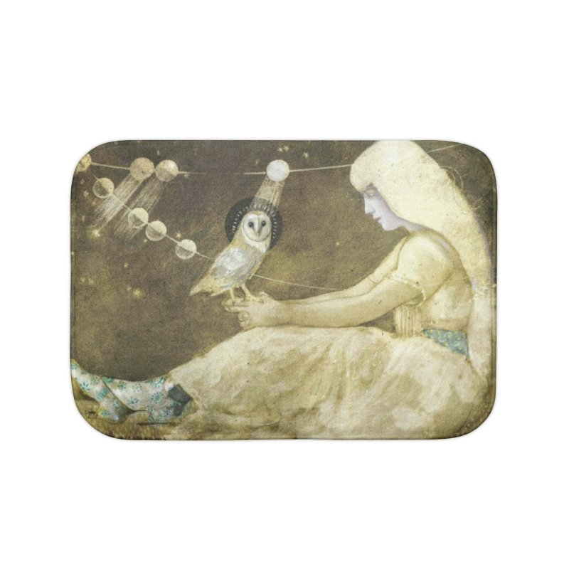 The Owl of Good Fortune by Tricia Scott Home Bath Mat by Artemis Journal's Artist Shop