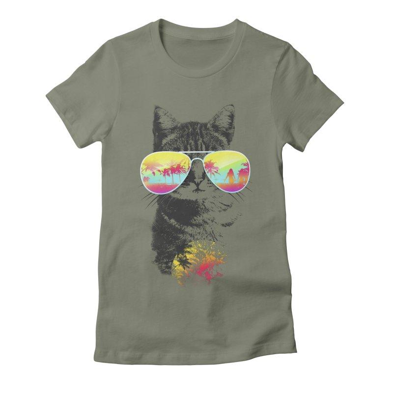 Cat Breeze Women's Fitted T-Shirt by Artemple Shop