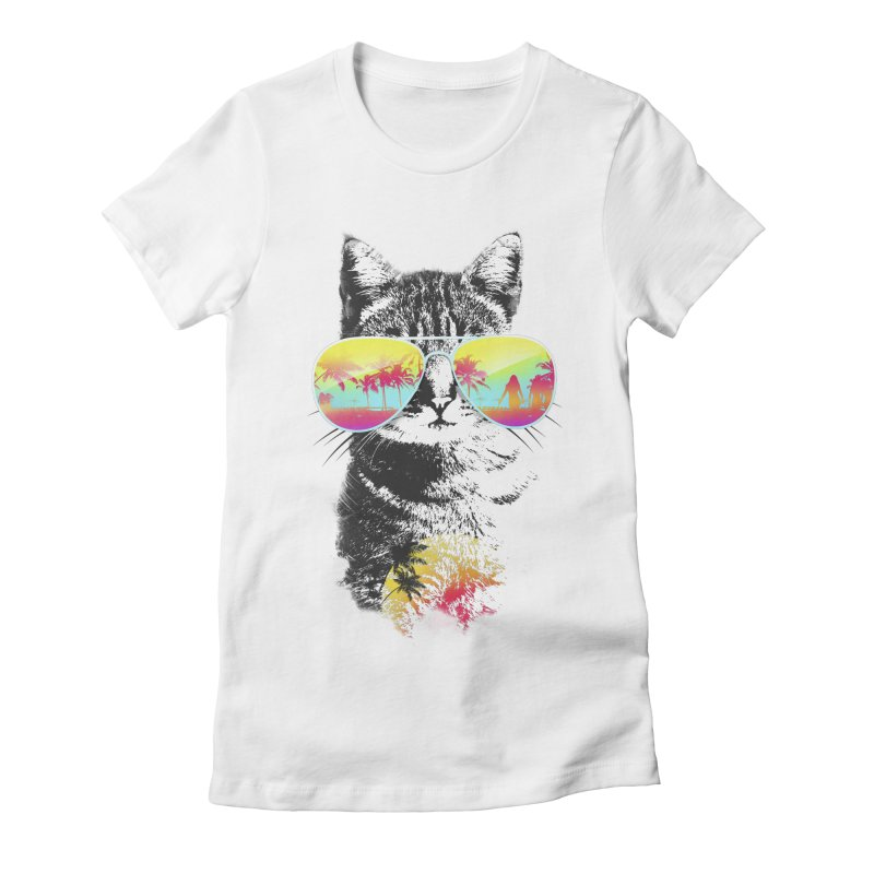 Cat Breeze Women's Fitted T-Shirt by Artemple Shop