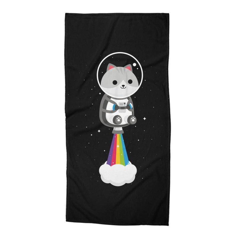 Space Cat Accessories Beach Towel by May's Studio