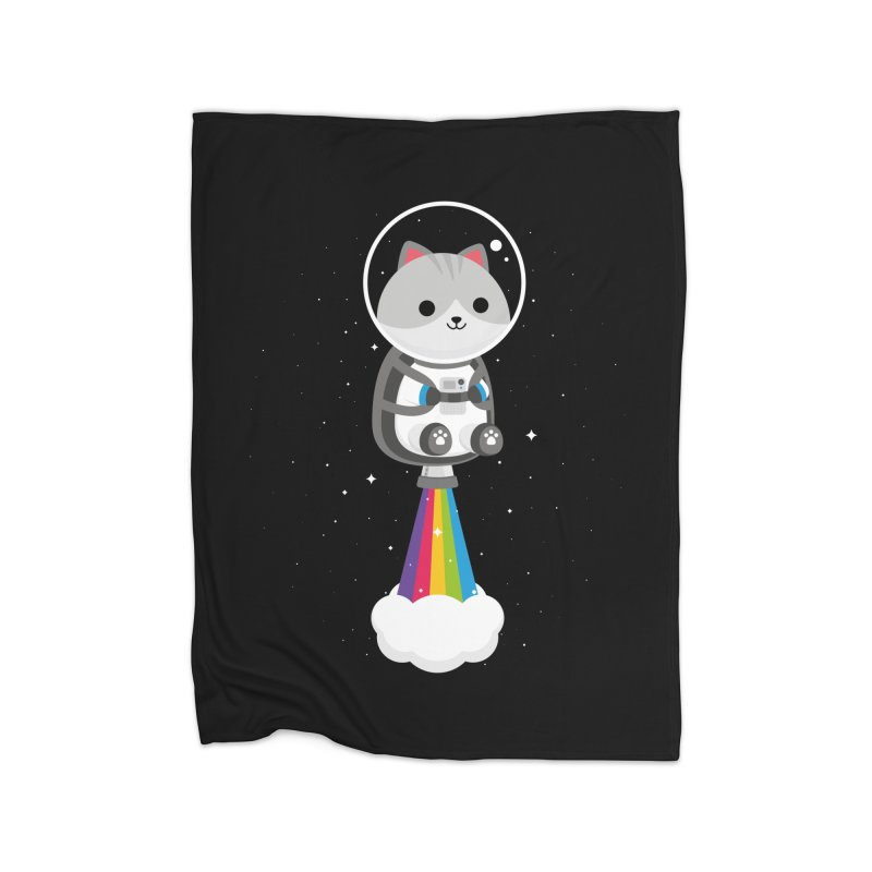 Space Cat Home Blanket by May's Studio