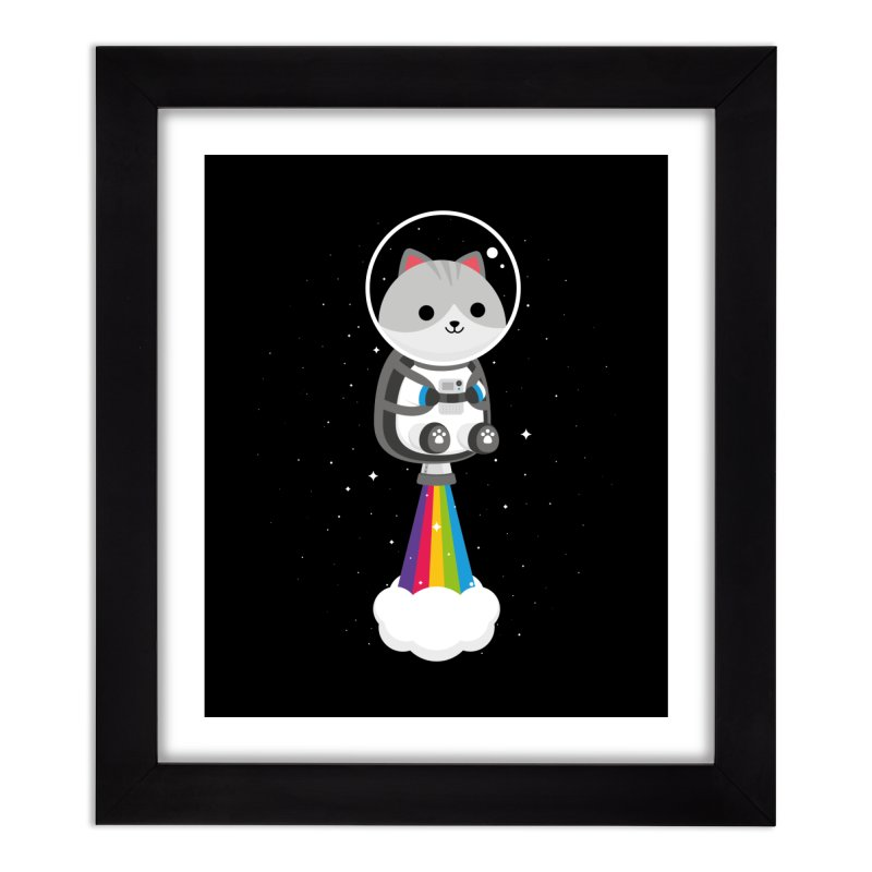 Space Cat Home Framed Fine Art Print by May's Studio