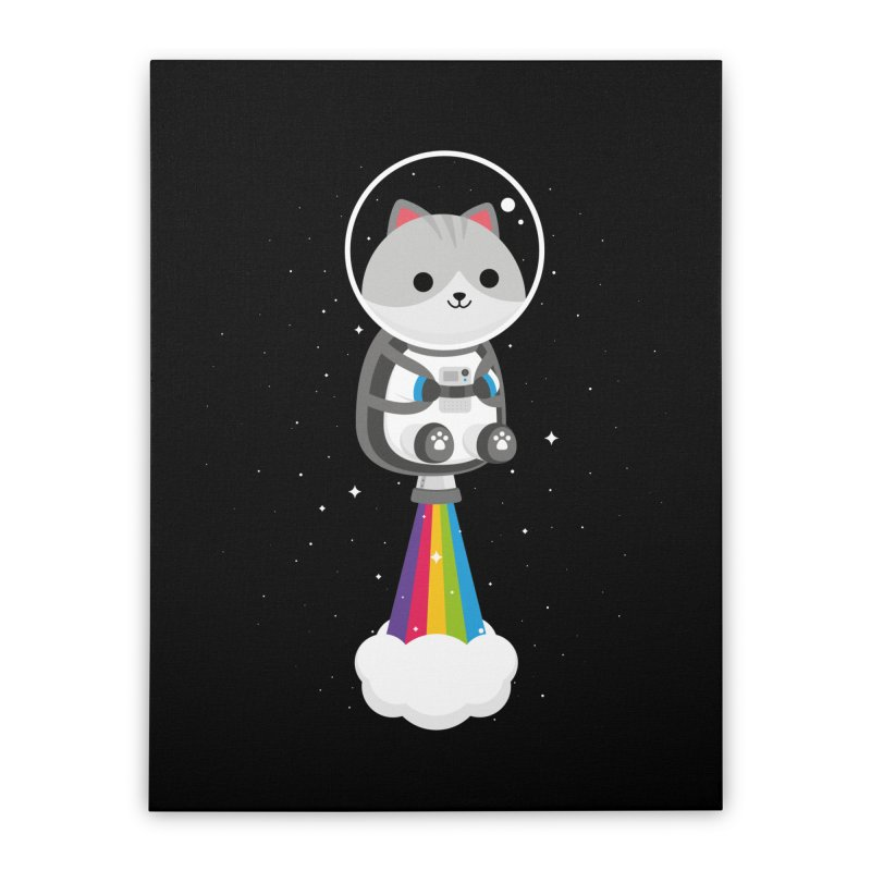 Space Cat Home Stretched Canvas by May's Studio