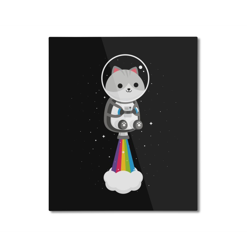 Space Cat Home Mounted Aluminum Print by May's Studio