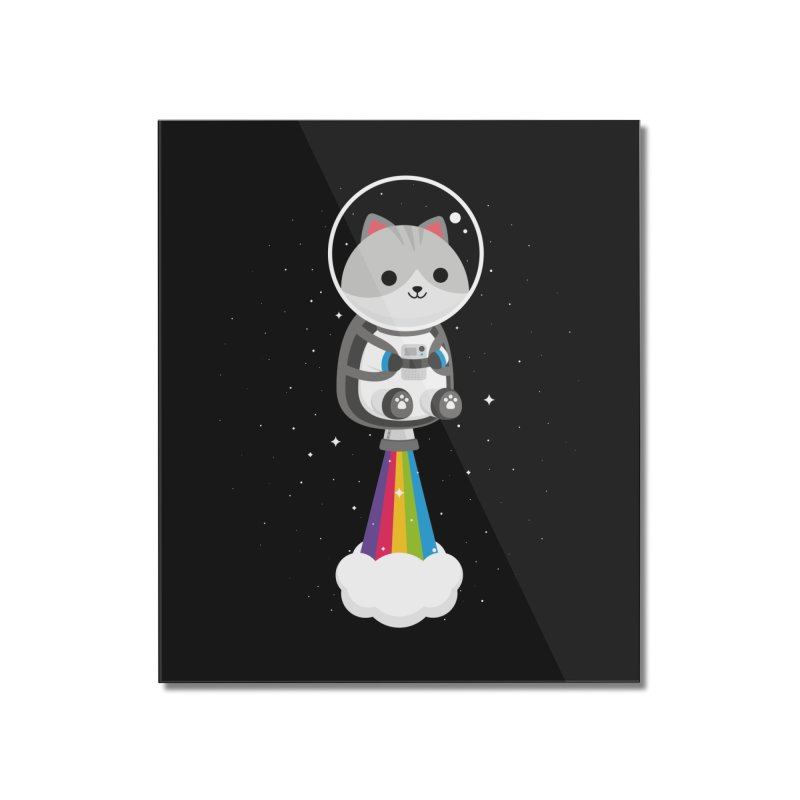 Space Cat Home Mounted Acrylic Print by May's Studio