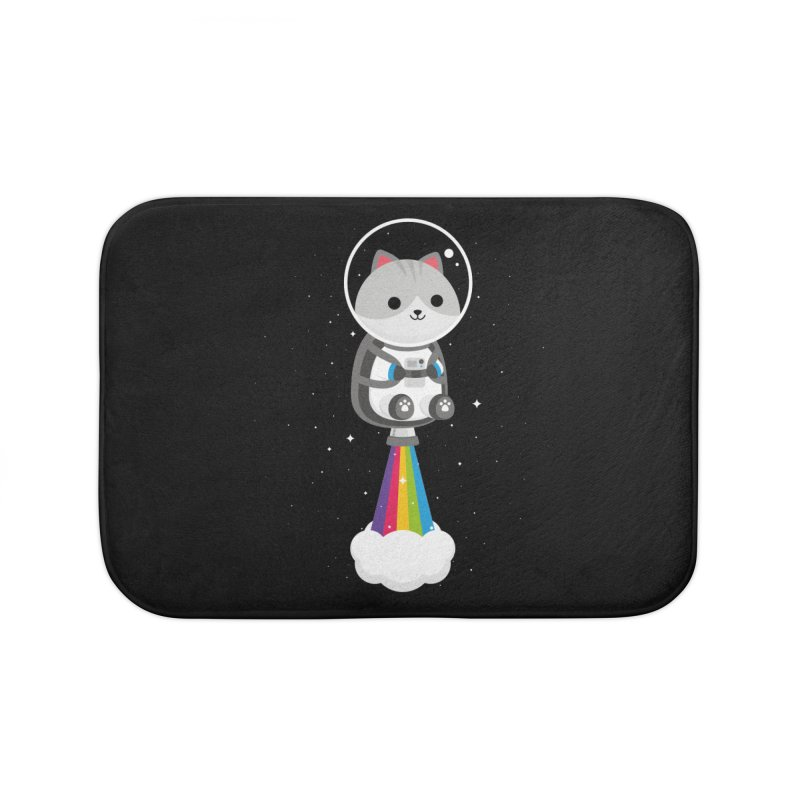 Space Cat Home Bath Mat by May's Studio