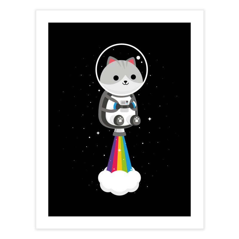 Space Cat Home Fine Art Print by May's Studio
