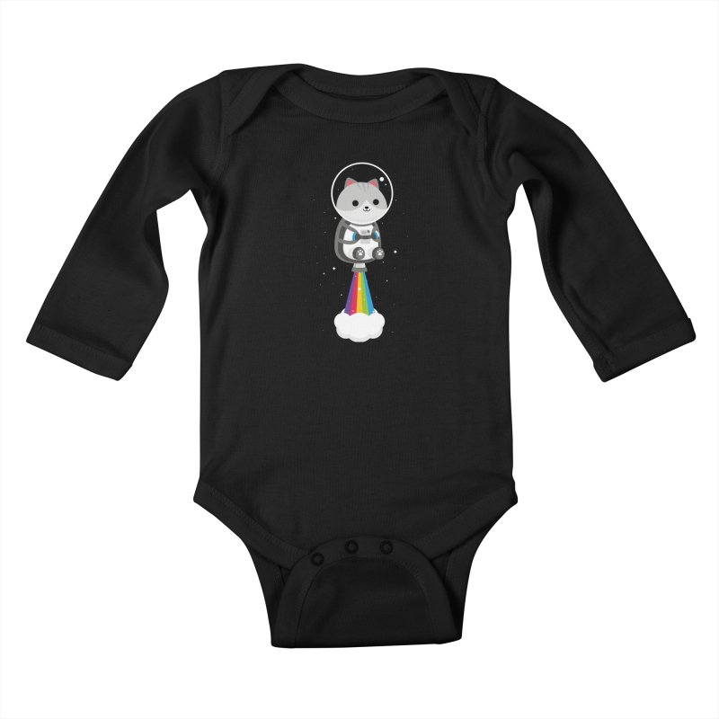 Space Cat Kids Baby Longsleeve Bodysuit by May's Studio