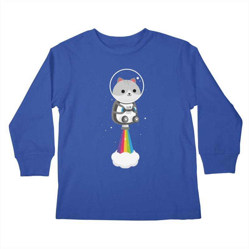Space Cat Kids Longsleeve T-Shirt by May's Studio