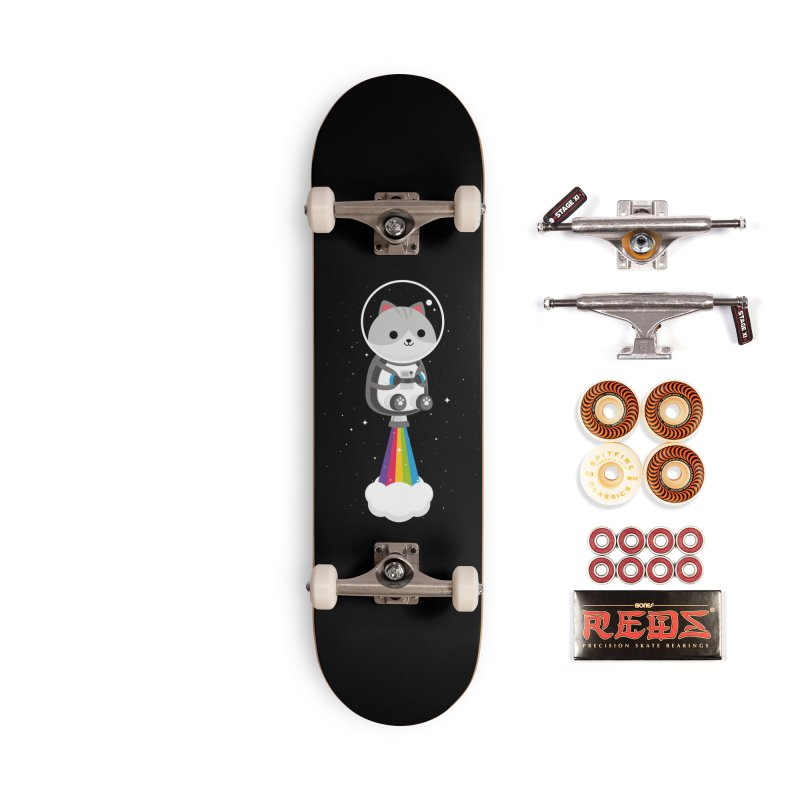 Space Cat Accessories Skateboard by May's Studio