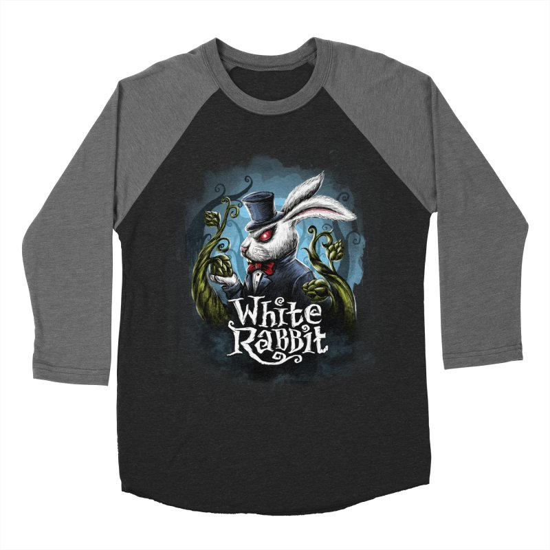 white rabbit in Men's Baseball Triblend Longsleeve T-Shirt Grey Triblend Sleeves by artfanat.shop