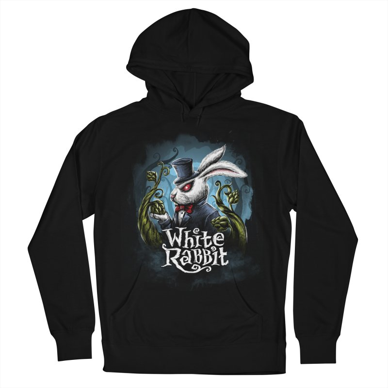white rabbit Men's French Terry Pullover Hoody by artfanat.shop