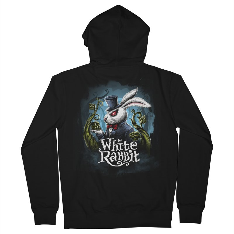 white rabbit Men's French Terry Zip-Up Hoody by artfanat.shop