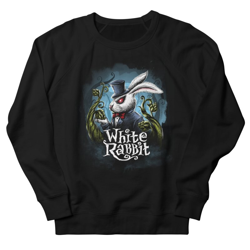 white rabbit Men's French Terry Sweatshirt by artfanat.shop