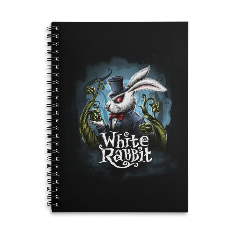 white rabbit in Lined Spiral Notebook by artfanat.shop