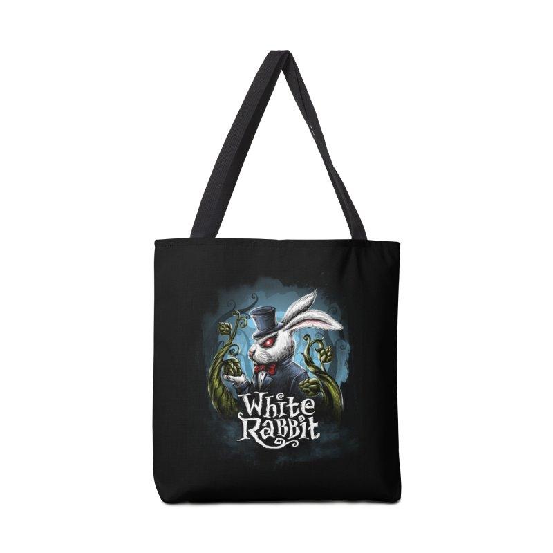 white rabbit in Tote Bag by artfanat.shop