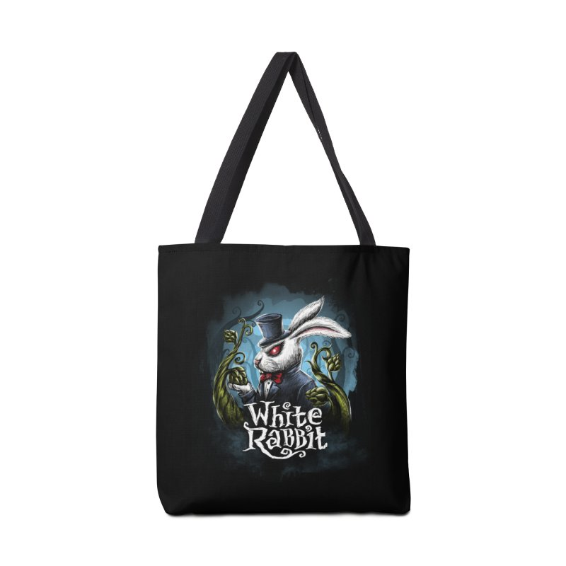 white rabbit in Tote Bag by artfanat.shop