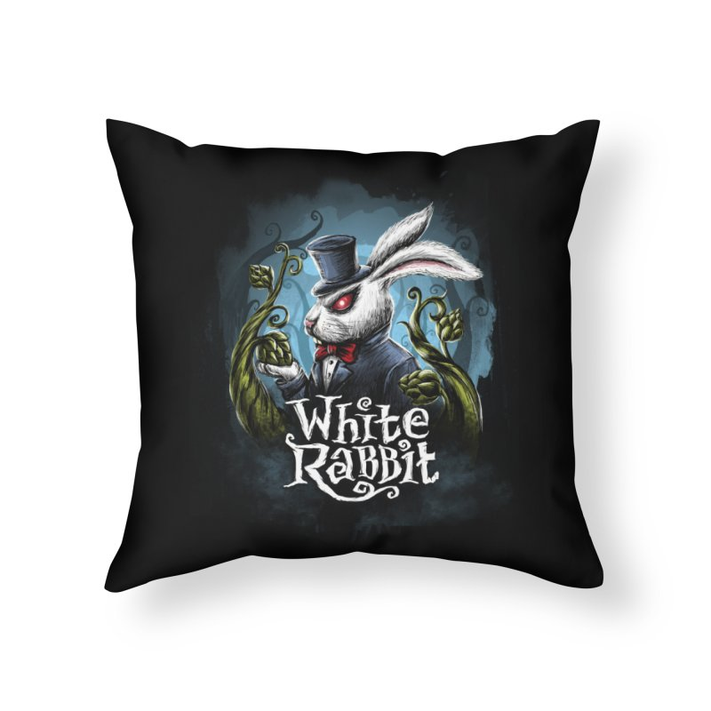 white rabbit in Throw Pillow by artfanat.shop