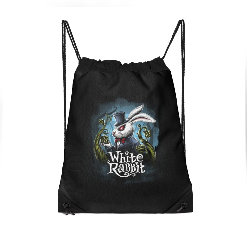 white rabbit in Drawstring Bag by artfanat.shop