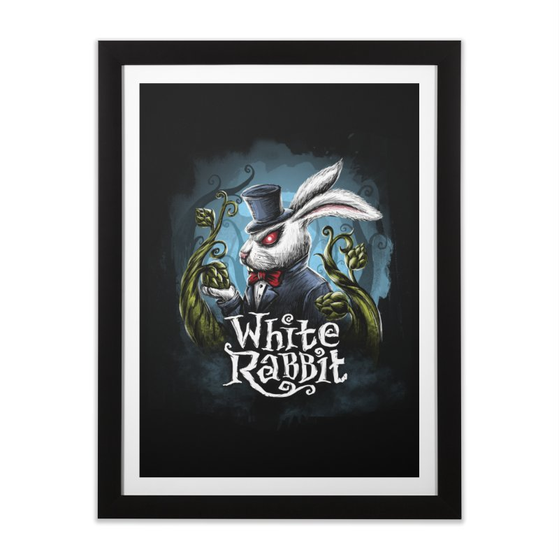 white rabbit Home Framed Fine Art Print by artfanat.shop