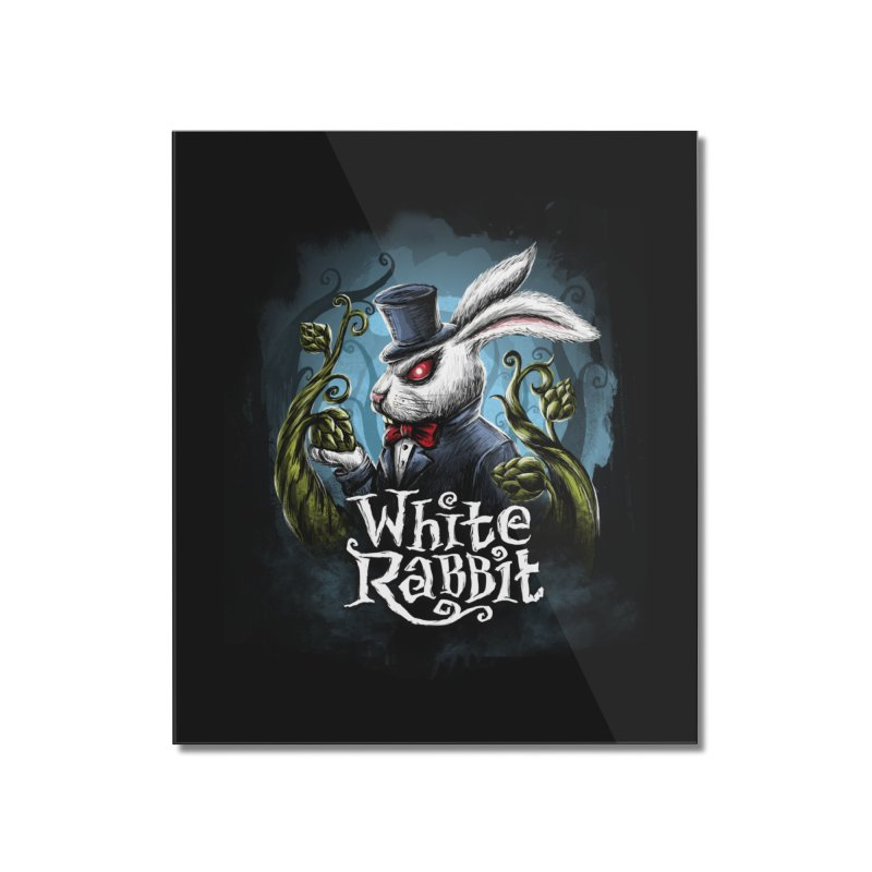 white rabbit Home Mounted Acrylic Print by artfanat.shop