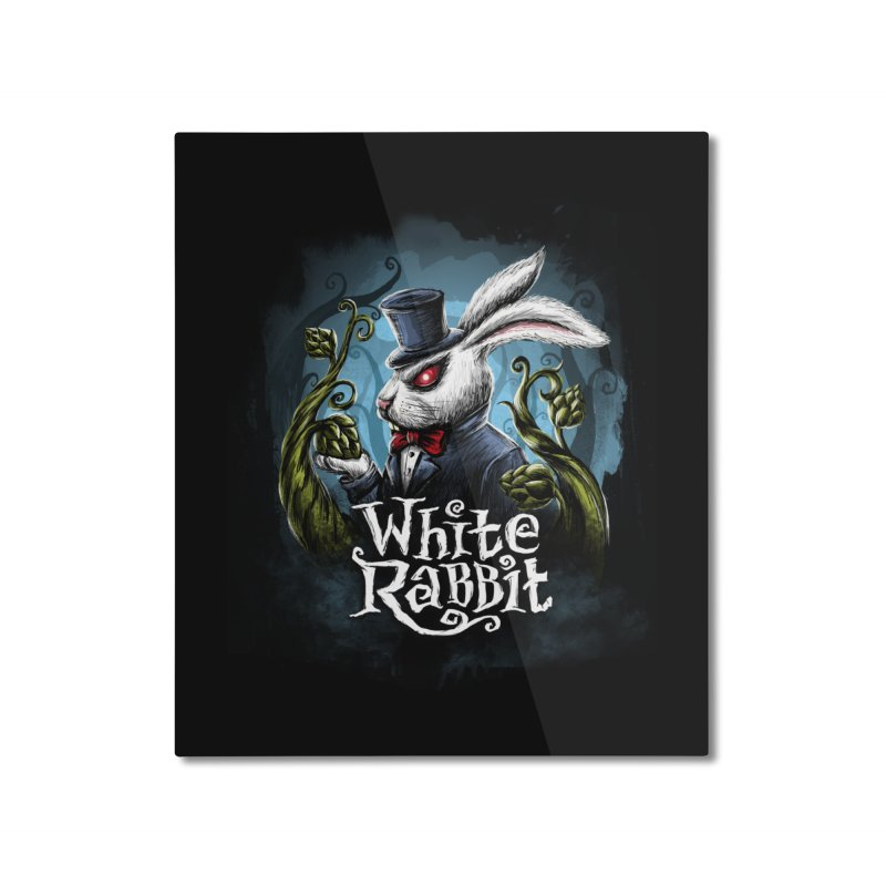 white rabbit Home Mounted Aluminum Print by artfanat.shop