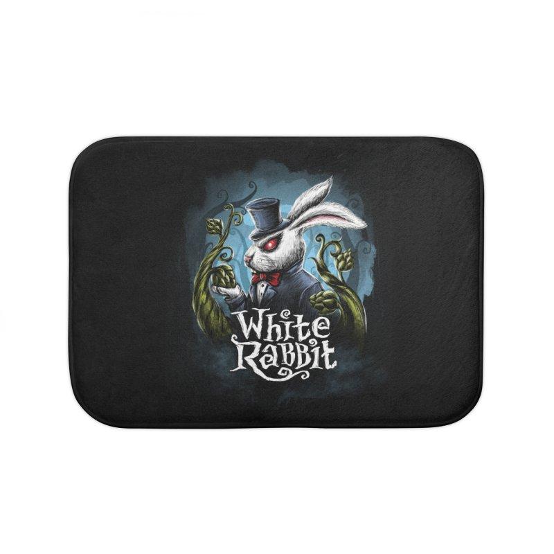 white rabbit Home Bath Mat by artfanat.shop